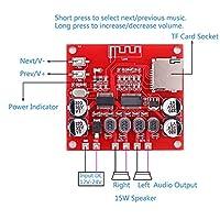 Aluetoothレシーバー用パワーアンプボードDC 12V-24V V4.2音声オーディオモジュール15W + 15WサポートTFカード