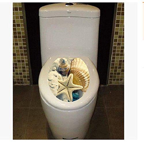 BIBITIME Bathroom Toilet Seat Cover Decals Sticker Vinyl Toilet Lid Decal Decor (12.99' x 15.35', Big Starfish)