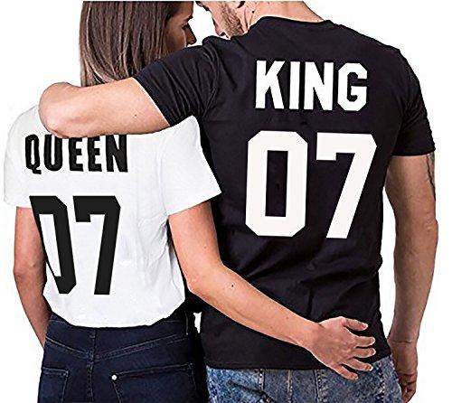 Partner Look Pärchen T-Shirt Set King Queen für Pärchen als Geschenk in versch. Farben S-4XL, Größe:Damen Gr. M + Herren Gr. L