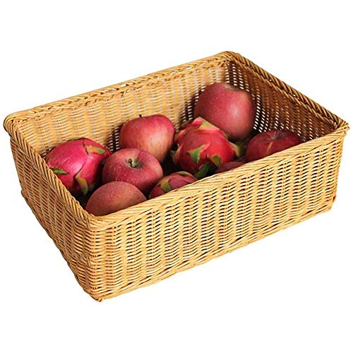 DGHJ fruitmand, fruitbord, gevlochten rotan, duurzaam, strong/huishouden, grote inhoud, bewaarmand, picknickmand