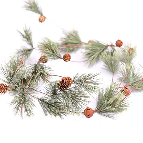 MISSPIN 6 Feet Artificial Christmas Garland Smokey Pine Garland with Pine Cones and Red Berry Garland (Pine Cones Garland, 1)