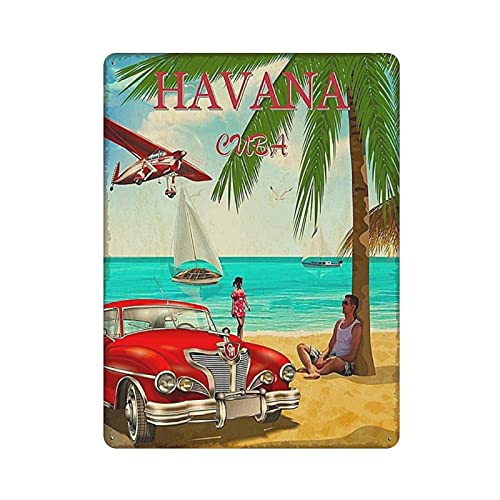 PPFINE 40x30cm/12x16in Cuba Cuban Havana Caribbean,Tin Sign Vintage Funny Creature Iron Painting Metal Plate Novelty Poster Tin Sign Vintage Iron Painting Decoration Funny Hanging Crafts for Bar/Cafe/Wall Dec