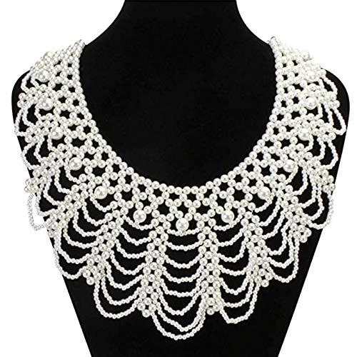 Yushu Damen-Halsband mit Perlen und Blumenblättern, falscher Kragen, minimalistisch, abnehmbares Revers