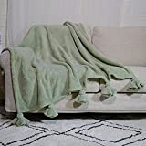 Amélie Home Soft Fuzzy Sage Green Fleece Throw Blankets with Knot Fringe for Bed Couch, 50'' x 60''