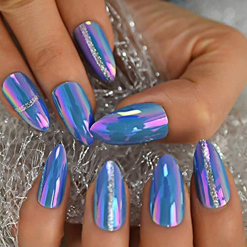 chenche Nagelaufkleber für Mädchen Wunderschöner himmelblauer Oberflächenspiegel gefälschte Nägel Stilettos TIPP Tipps 24