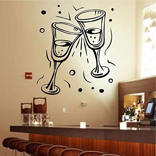 Champagne Bril Muursticker Feestfeest feest Restaurant bar muurschilderingen Pub Cafe Keuken Viering Drink D 57 * 70cm