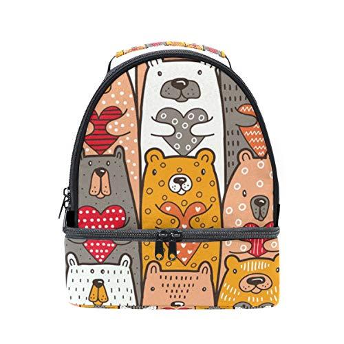 Alinlo Ours avec motifs de cœurs Sac à déjeuner isotherme Cooler Tote Box avec bandoulière réglable pour Pincnic à l'école