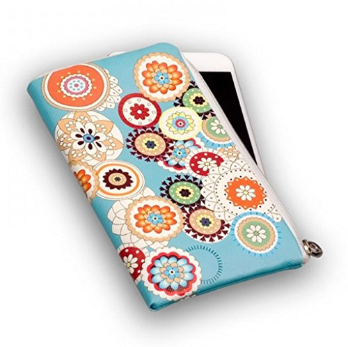 Reissverschluss Handytasche Softcase türkis Flower passend für Microsoft Lumia 650 Dual SIM Handy Schutz Hülle Slim Case Cover Etui Tasche türkis