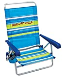 Margaritaville 5-Position Lay Flat Folding Beach Chair - Blue Stripe