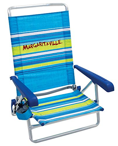 Margaritaville 5-Position Lay Flat Folding Beach Chair - Blue Stripe