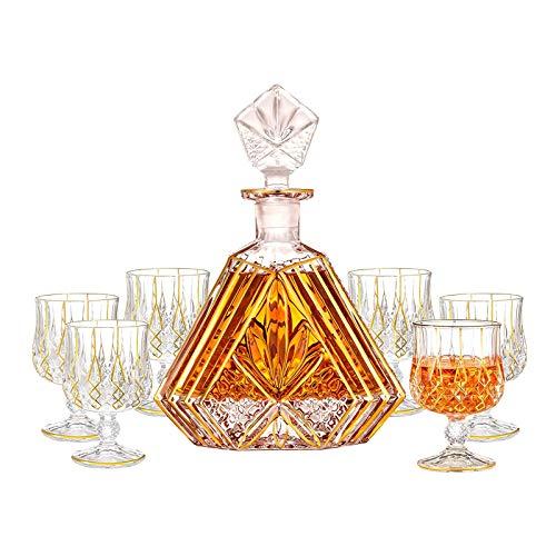 Fndjfjf Juego De Decantador De Whisky De 7 Piezas, Decantador De Whisky De Cristal (650 Ml) Y Juego De 6 Vasos De Whisky (180 Ml),Juego De Decantador De Cristal Licor De Whisky Escocés