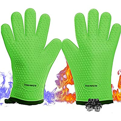 No.1 Set of Silicone Smoker Oven Gloves - Extreme Heat Resistant Washable Mitts for Safe Cooking Baking & Frying at The Kitchen,BBQ Pit & Grill. Superior Value Set + 3 Bonuses (Green) from Kitchen perfection