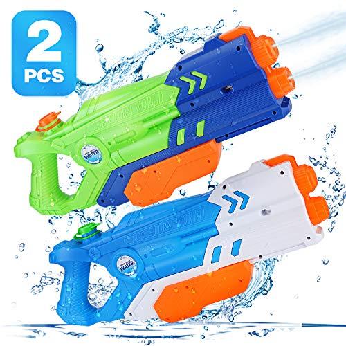 Ucradle Wasserpistole, 2 Pack Water Gun Long Range mit 2 Düsen, Hochleistungs-650ML Wasserpistolen Blaster Spielzeug, Spritzpistole für Kinder Erwachsene, Sommerspielzeug für Pool Beach Water Party