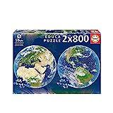 Educa Round Planeta Tierra. 2 Puzzles Redondos de 800 Piezas. Ref. 19039, Multicolor