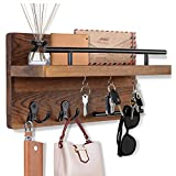 OurWarm Mail Key Holder for Wall Decorative, Wooden Mail Organizer Wall Mount with 5 Key Hooks, Wood Key Hangers for Wall with Mail Key Rack, Rustic Mail Sorter for Entryway Office Hallway Home Decor