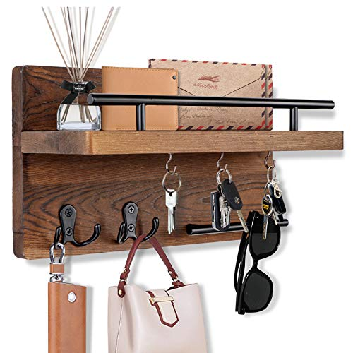 OurWarm Key Holder for Wall Decorative with 5 Key Hooks, Wall Mounted Key Hangers for Wall with Mail...