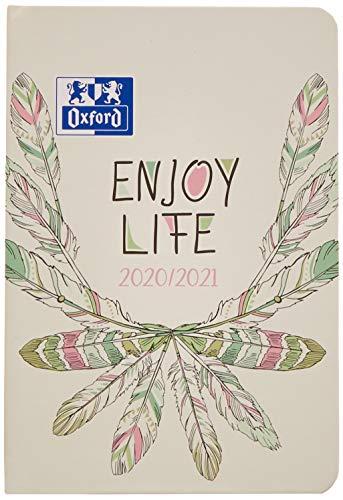 Oxford Agenda scolaire 2020/2021 Boho Chic Enjoy life 12 x 18 relié 176 feuilles