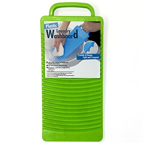 Plastic Laundry Washboard With 2 Levels of Hooks Light and Compact (Green)
