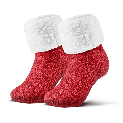 Piarini 1 Paar Kuschelsocken mit ABS Sohle - warme Damen Socken - Wintersocken mit Anti Rutsch Noppen - dicke Haussocken rot