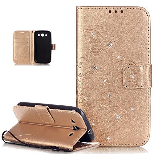 Custodia Galaxy S3 Neo,Custodia Galaxy S3,Goffratura Vines Fiore Farfalle Cristallo 3D Diamante Bling Strass Flip Cover Portafoglio PU Pelle Wallet Stand Custodia Cover per Galaxy S3/S3 Neo,D'oro