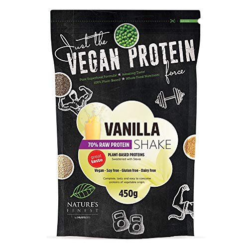 Vanilla 70% Vegan Protein Shake sweetened with Stevia | Sugar and Gluten Free | Plant Based Protein Blend