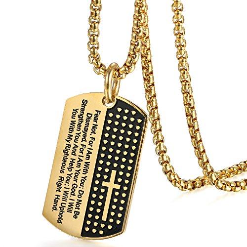 Heren halsketting met grijs kruis Bijbel gebed Dog Tag hanger, vintage biker roestvrij staal crucifix hanger ketting 56 cm, zwart goud