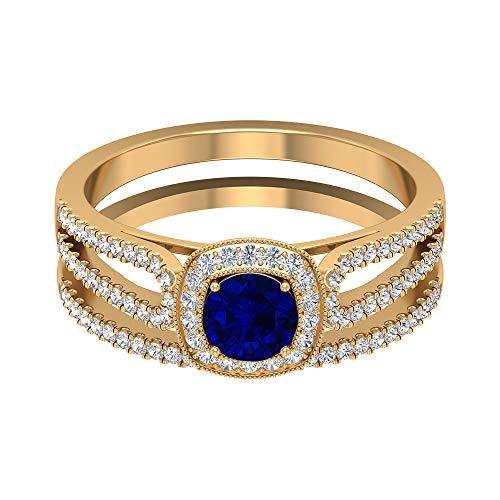 Anillo de compromiso con vástago dividido, 5,00 mm solitario zafiro azul, anillo de halo de diamante HI-SI con piedras laterales (calidad AAA), 14K Oro amarillo, Size:EU 50