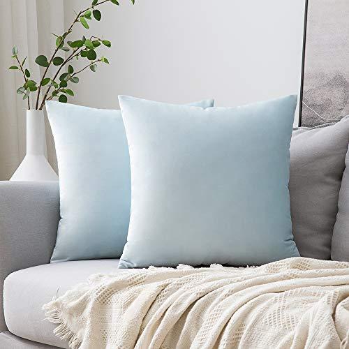 MIULEE Confezione da 2 Federe in Velluto Copricuscini Decorativi Fodere Quadrate per Cuscino per Divano Camera da Letto Casa40X40cm Blu Chiaro