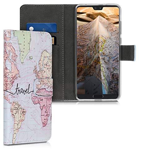 kwmobile Funda Compatible con Huawei P20 Pro - Carcasa de Cuero sintético Mapa Mundial - con Tarjetero