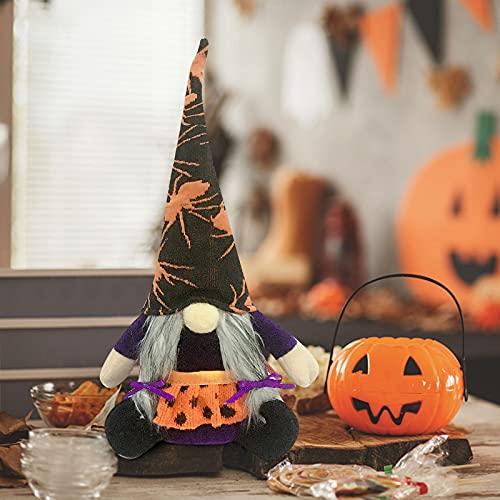 Muium(TM) Gnomo de Halloween, sin cara, de peluche, de punto, para casa, hecho a mano, adorno para Halloween, decoración del hogar (naranja)