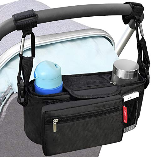 COAMANUG Non-Slip Stroller Organizer with Cup Holders, Upgraded Straps Grip Handlebar, Universal Stroller Organizer for Uppababy, Baby Jogger, Britax, Bugaboo, and BOB Stroller, Baby Shower Gift