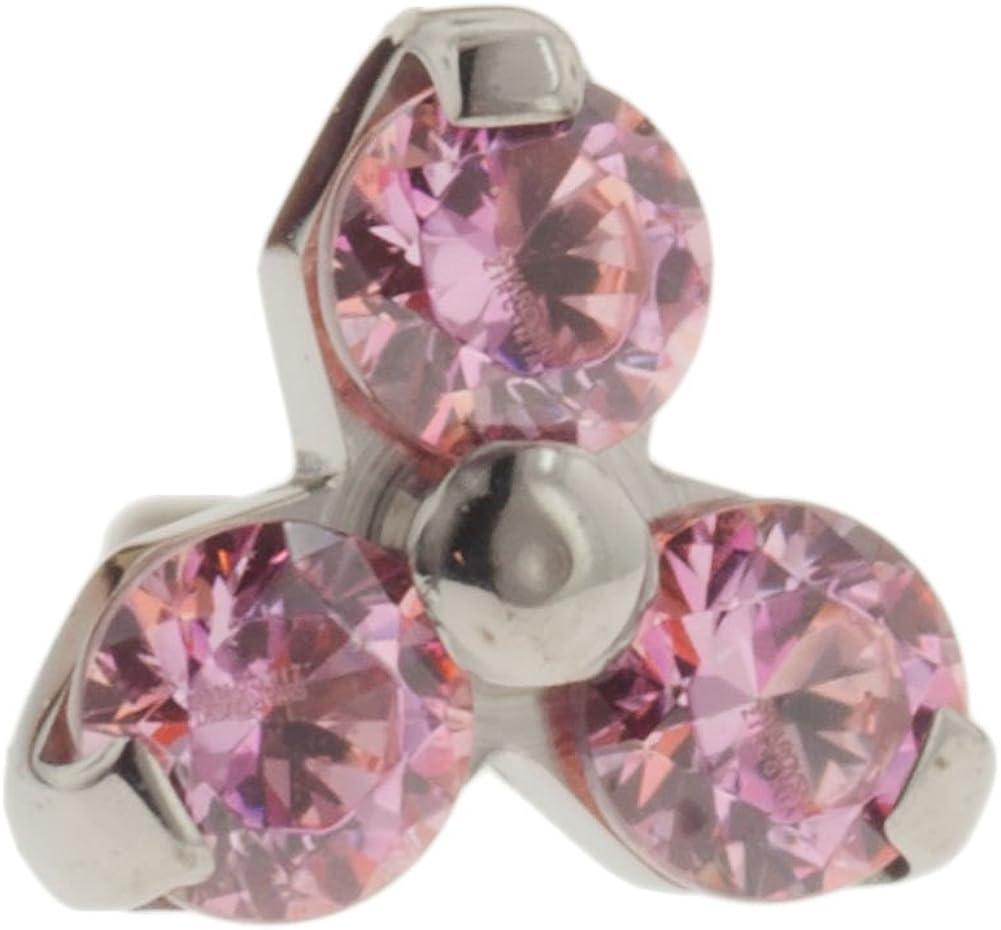 Steel Navel Body Jewelry Threadless Titanium Multi-Faceted Gem Trinity End: 18g High Polish, Pink Zirconia Gems