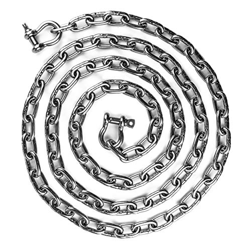 """HarborCraft 10 Foot Stainless Steel 316 Anchor Chain 5/16"""" by 10 Foot Long with 2 Stainless Steel Shackles Min. Break Load 7,600 LBS"""