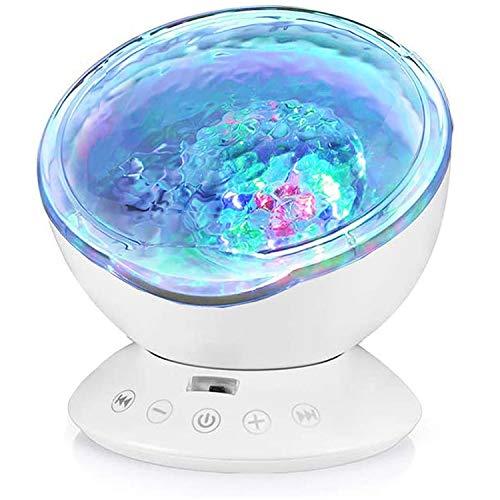 Opibtu Projektor Lampe Ozean Stimmungslicht Kinder 12LED 7 Beleuchtungsmodi Nachtlicht Kind mit Timerfunktion Lautsprecherfunktion LED Projektor für Kinder Geburtstag Weihnachten Geschenk