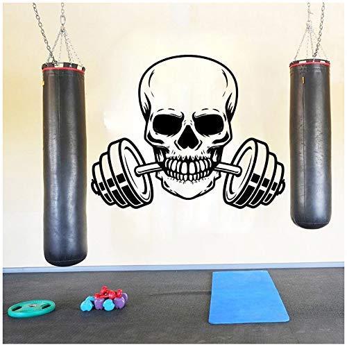 Gran Esqueleto Barbell Fitness Etiqueta De La Pared Gimnasio Entrenamiento Cráneo Barbell Deporte Pared Calcomanía Ejercicio Vinilo Decoración 94 Cm X 75 Cm