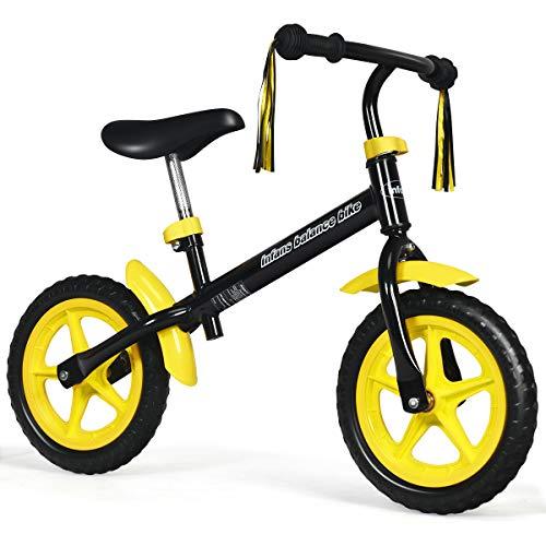 INFANS 12 Lightweight Balance Bike, Kids Training Bicycle with Fenders, Tassel Ribbon, Adjustable Seat/Handlebar, Inflation-Free EVA Tires, No-Pedal Pre Walking Bike for Toddler 2 to 5 Years, Yellow