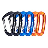 Hikemax 7075 Aluminum Carabiners, Heavy Duty Carabiners Clips 12 KN for Hammocks, Clipping On Camping Accessories, Keychains