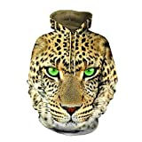 Leopard Printed 3D Hoodie for Women Men, Sweatshirt Cartoon Clothes with Pockets 3D Pullover Hoodie (leopard1, L/XL)