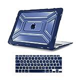 MOSISO Funda Dura Compatible con 2020 MacBook Air 13 A2337 M1 A2179 con Pantalla Retina, Carcasa Rígida de Plástico de Alta Resistencia con TPU Parachoques & Cubierta de Teclado, Azul Marino