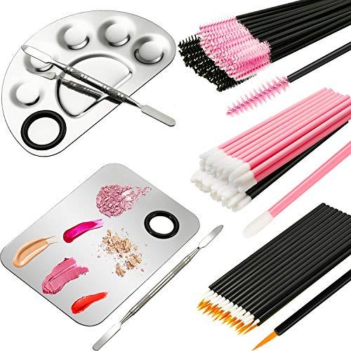 2 Stücke Make-up Mischpalette Kosmetische Palette mit Spatel und 150 Stücke Make-up Pinsel Kit Make-up Palette Einweg (Mascara Zauberstäbe, Lippenstift-Applikatoren, Feiner Eyeliner Pinsel)
