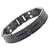 Willis Judd Mens Blue Carbon Fiber Black Titanium Magnetic Bracelet, Size Adjusting