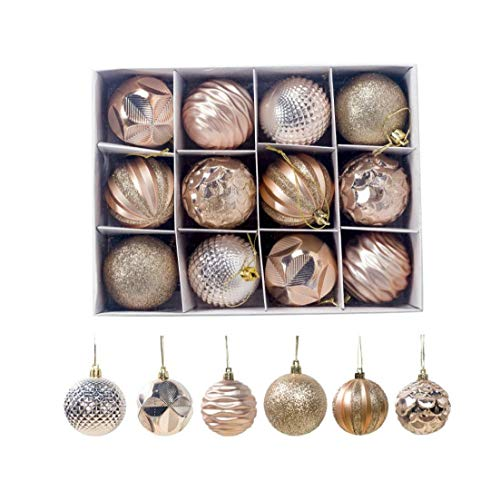 Christmas Tree Balls Shatterproof Shine Ball Ornaments Decoration for Holiday Wedding Party 12pcs (Golden) Houseware