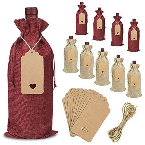 OOTSR 10 Piezas Bolsa Botella Vino, Bolsas de Vino de Yute Reutilizable con Etiquetas y Cuerdas, para Bodas, Recuerdos de Fiesta, Navidad y Suministros para Fiestas de Cata de Vinos