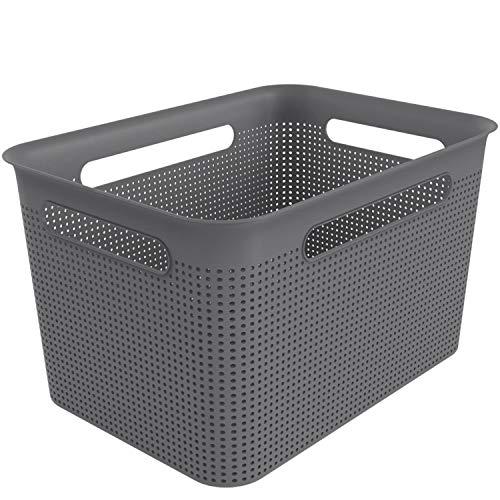 Rotho Brisen große Aufbewahrungsbox 16l mit 4 Griffen, Kunststoff (PP) BPA-frei, anthrazit, 16l (36,0 x 26,2 x 21,1 cm)