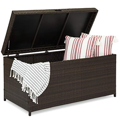 Best Choice Products 136-Gallon Indoor/Outdoor Wicker Furniture Storage Box for Patio, Deck, Living Room, Bedroom, Cushions, Pillows, Pool Accessories w/Safety Pneumatic Hinges, Deep Bed - Brown
