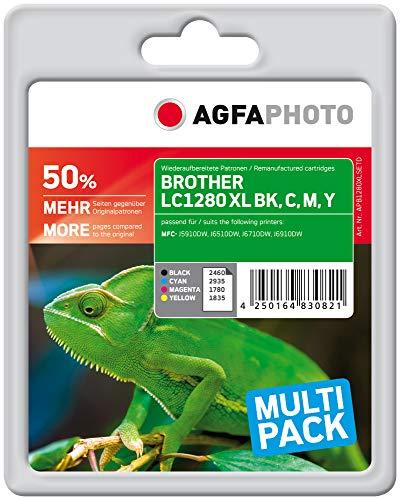 AgfaPhoto APB1280XLSETD Toner für Brother MFCJ6510, 1 x 60 ml schwarz / 3 x 15ml, cyan, magenta und gelb