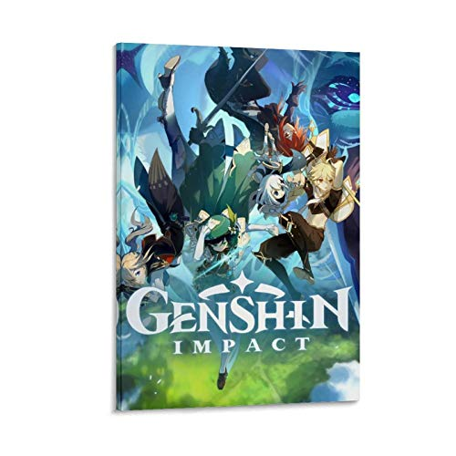 Arte de oficina decoración de pared Genshin Impact Games Poster moderno personaje ilustraciones impresiones 60 x 90 cm