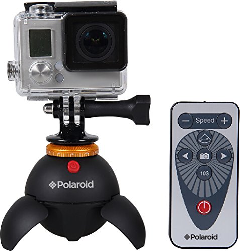 Polaroid Rechargeable Panorama Eyeball Head w/Remote Control 360º Rotation – Includes Attachments for GoPro Action Cameras, Bluetooth Devices, Smartphones & Tripod Mounted Cameras & Camcorders