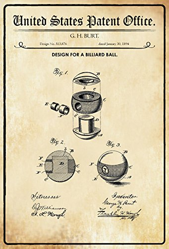 Schatzmix United States Patent Office - Design for a Billiard Ball - Entwurf für EIN Billard Kugel - Burt, 1894 - Design No 513.876 - Blechschild