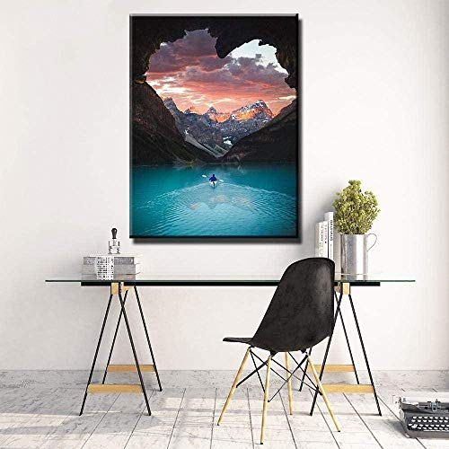 Arte de pared Decoración del hogar Imagen modular nórdica 1 pieza Canoa Kayak Nuevo mundo Póster Impresión en lienzo Pintura Sala de estar-40X60cm sin marco